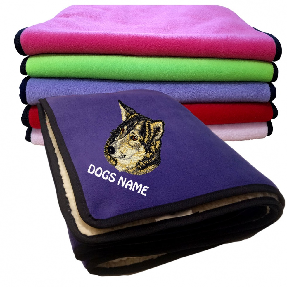 Russian Laika Personalised Luxury Fleece Dog Blankets Plain Colours
