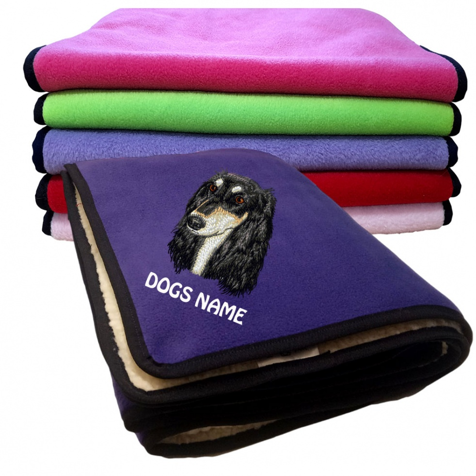 Saluki Personalised Luxury Fleece Dog Blankets Plain Colours