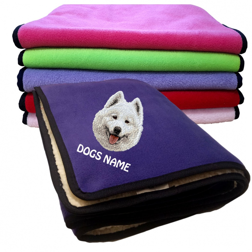 Samoyed Personalised Luxury Fleece Dog Blankets Plain Colours