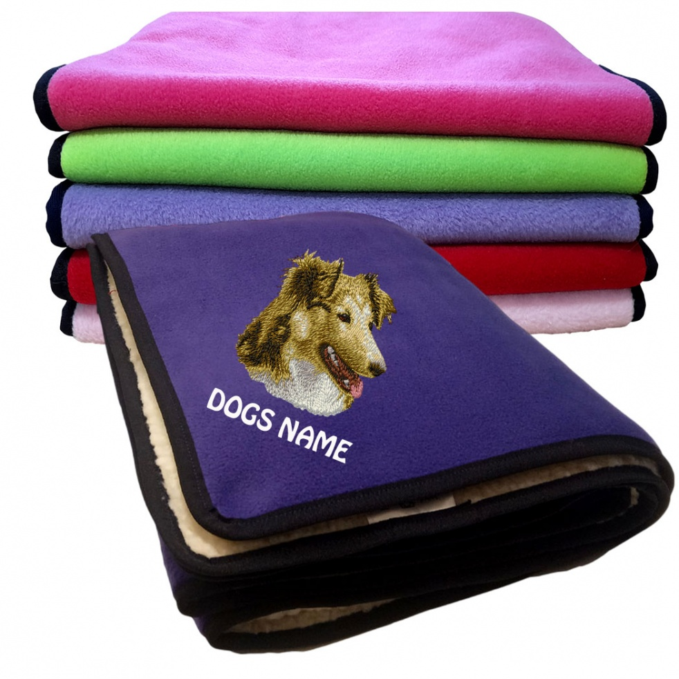 Shetland Sheepdog Personalised Luxury Fleece Dog Blankets Plain Colours