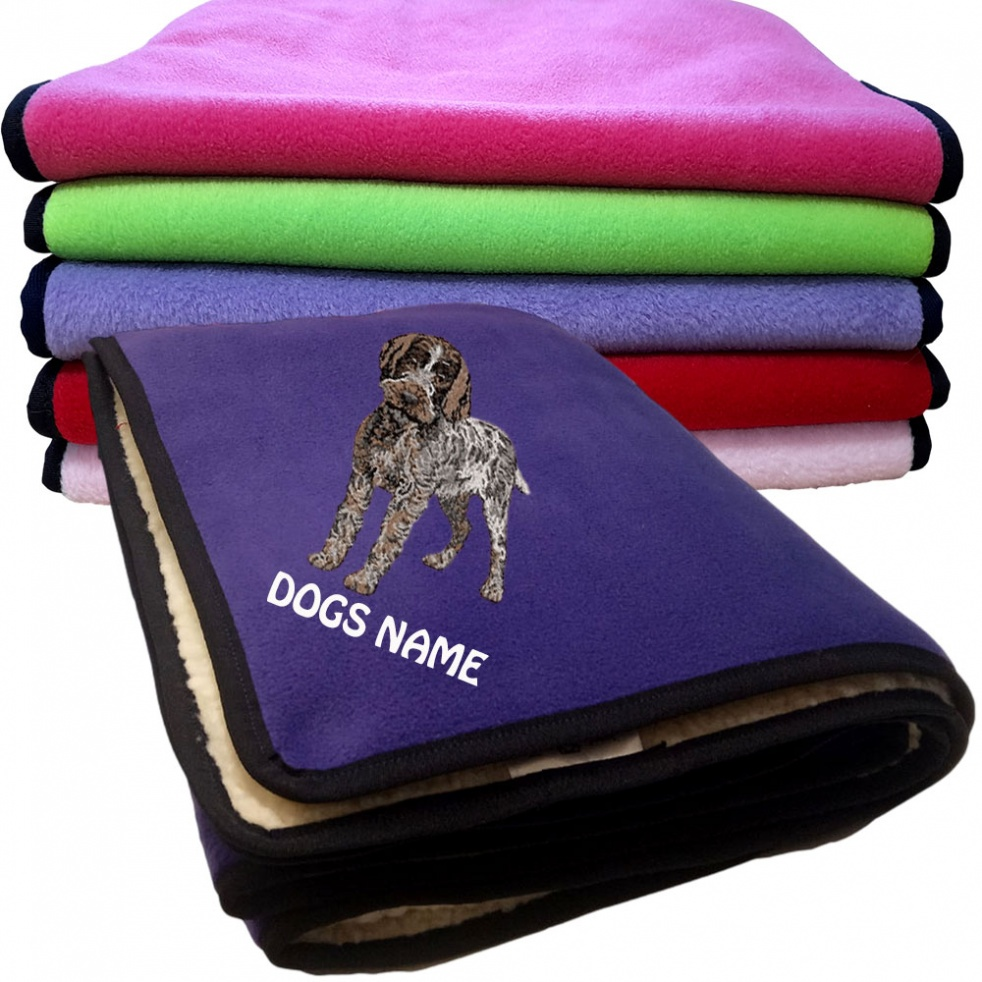 Wirehaired Pointing Griffon Personalised Luxury Fleece Dog Blankets Plain Colours