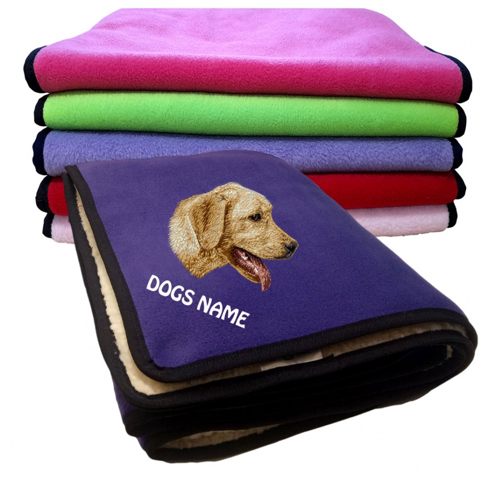 Labrador Retriever (Yellow) Personalised Luxury Fleece Dog Blankets Plain Colours