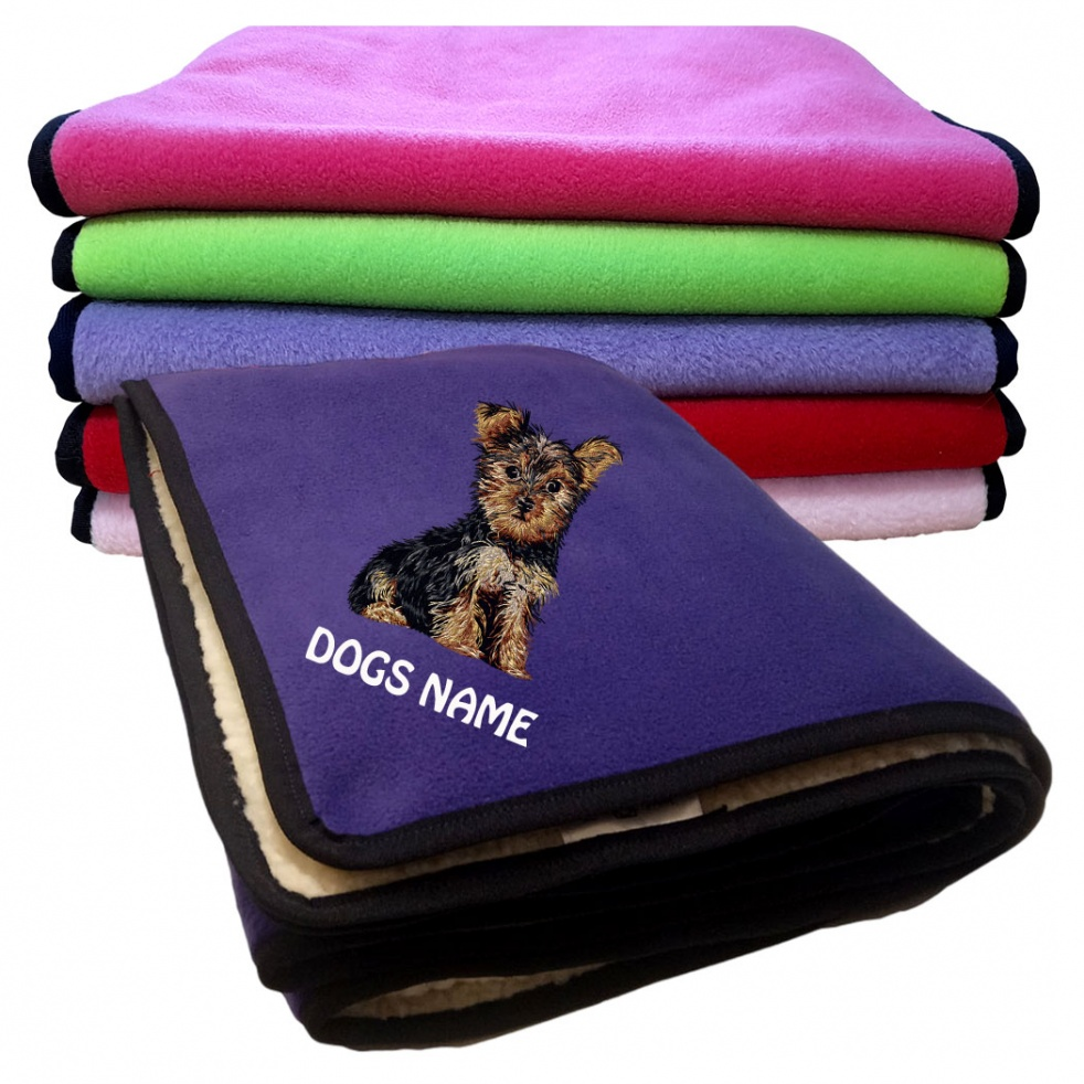 Yorkshire Terrier Personalised Luxury Fleece Dog Blankets Plain Colours