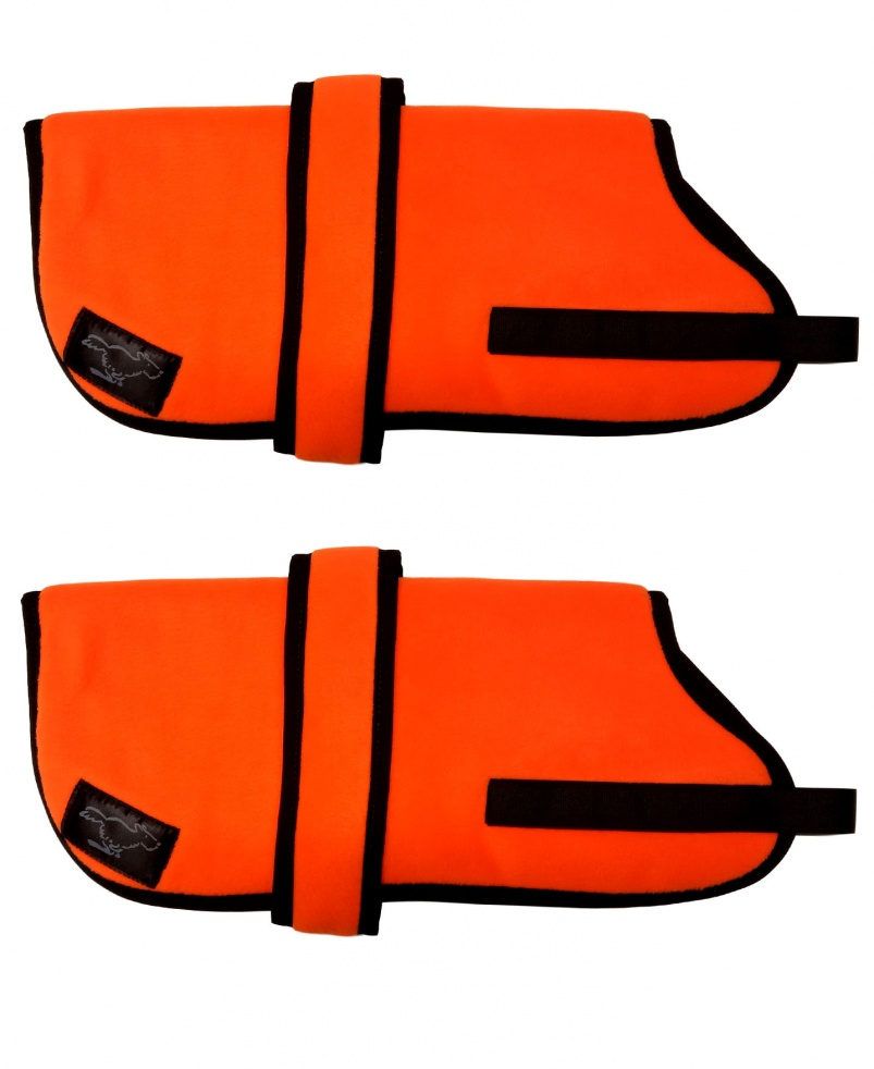 High Visibility Personalised Fleece Dog Coats - High Visibility  Orange