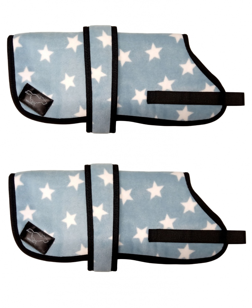 Personalised Fleece Dog Coats - Blue Stars