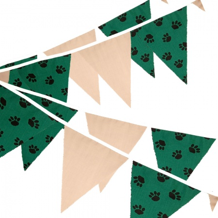 Fabric Bunting -  Paw Print - Tan - 12 Flags - 10 ft length ( 3 metres)
