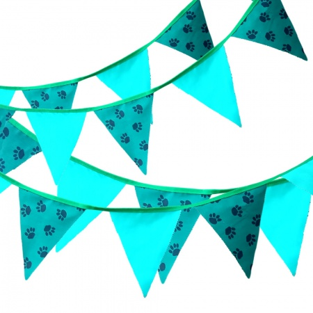 Fabric Bunting - Paw Prints & Emerald Plain - 12 Flags - 10 ft length ( 3 metres)