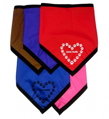 Personalised Dog Bandanas Printed With Heart Paw Prints
