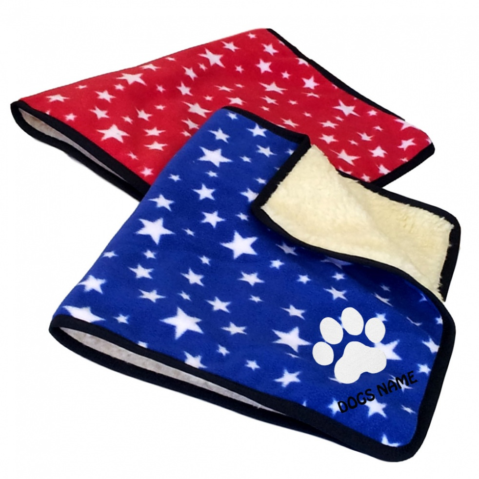 Personalised Pawprint Dog Blankets | Bright Stars Design