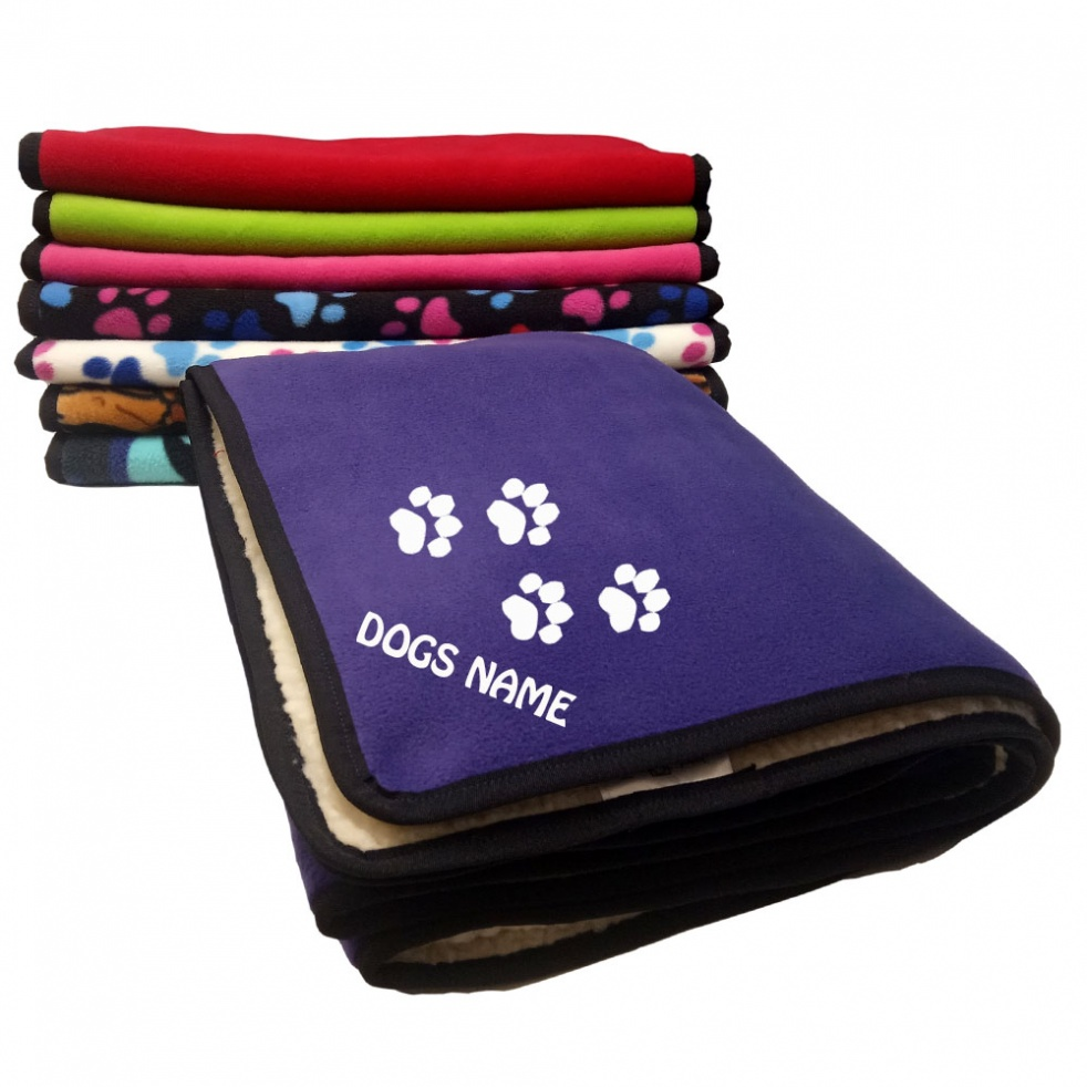 Personalised Pawprint Dog Blankets | Various Plain Colours