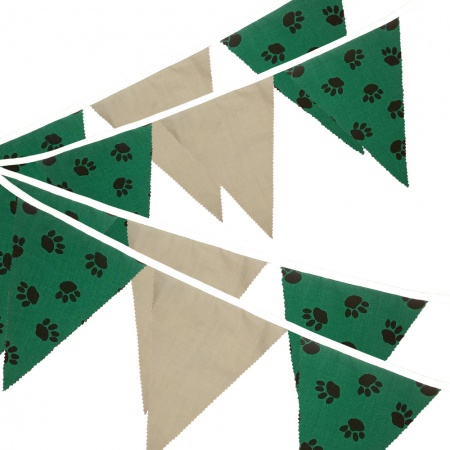 Fabric Bunting -  Paw Print - Sage Green - 12 Flags - 10 ft length ( 3 metres)