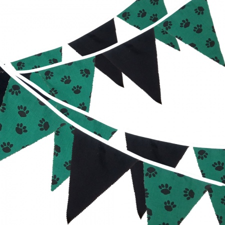 Fabric Bunting -  Paw Print - Black - 12 Flags - 10 ft length ( 3 metres)