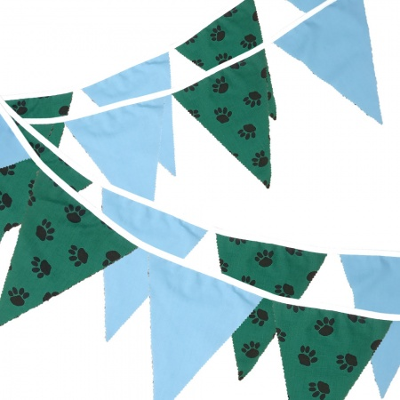 Fabric Bunting -  Paw Print - Blue - 12 Flags - 10 ft length ( 3 metres)
