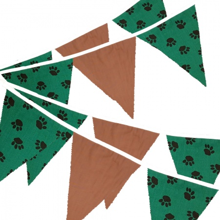 Fabric Bunting -  Paw Print - Brown - 12 Flags - 10 ft length ( 3 metres)