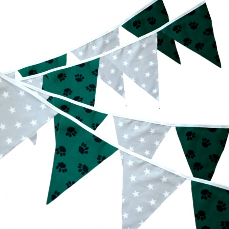 Fabric Bunting -  Paw Print - Stars - 12 Flags - 10 ft length ( 3 metres)