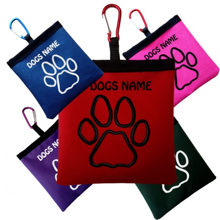 Personalised Pooh Bag Holder With Carabiner - Outline Paw Design