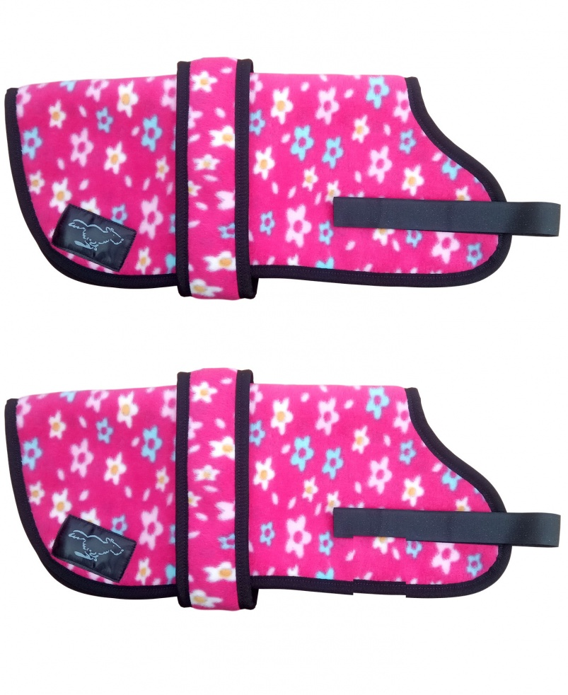 Personalised Fleece Dog Coats - Pink Flowers