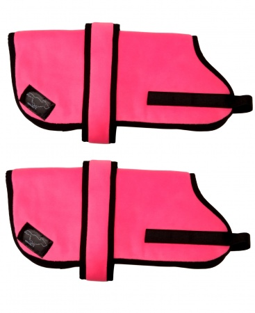 Personalised High Visibility Personalised Fleece Dog Coats - High Visibility Pink