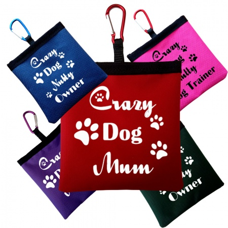 Personalised Crazy Dog Quotes Pooh Bag Holder With Carabiner