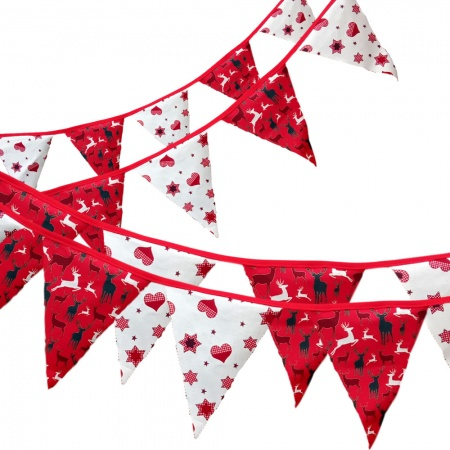 Bunting -Red Stag & Heart - 12 Flags - 10 ft length ( 3 metres)