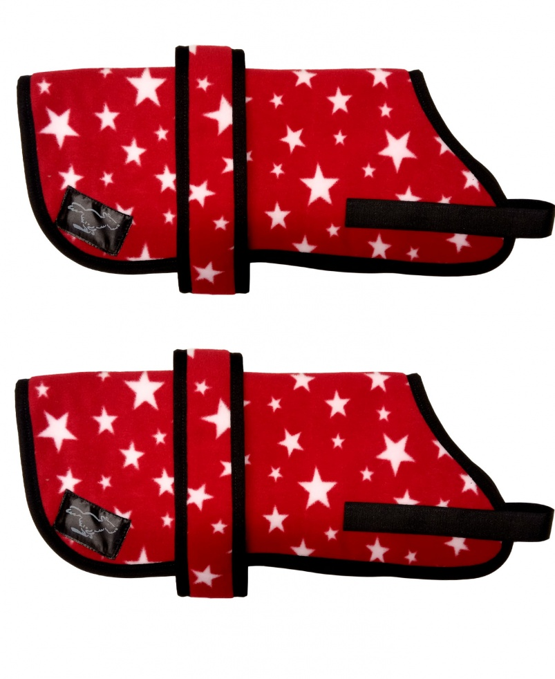 Personalised Fleece Dog Coats - Red Stars