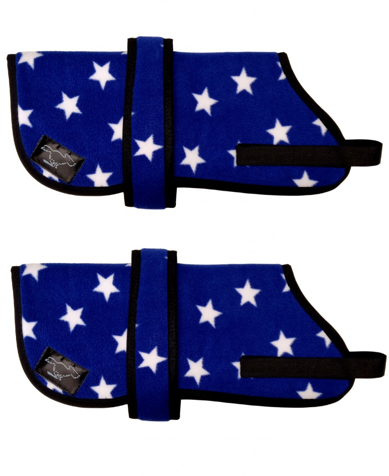 Personalised Fleece Dog Coats - Royal Blue Stars