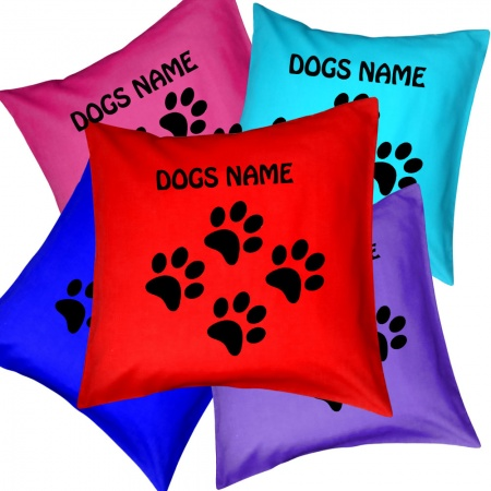 Tiny Paw Print Personalised Cushion - - Including Dogs Name