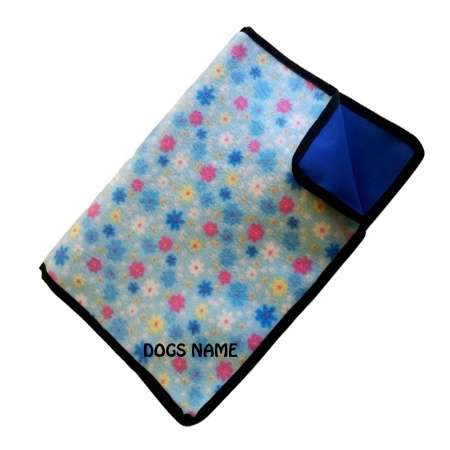 Half Price |  Waterproof Dog Blanket | Blue Flowers