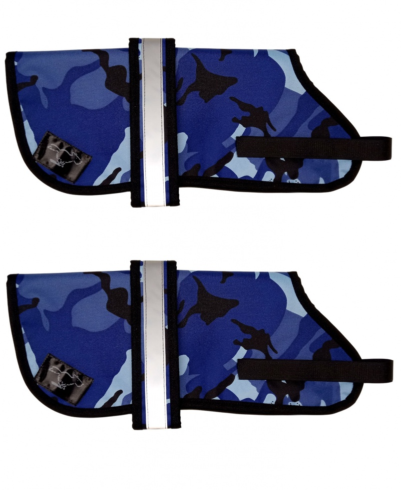 Personalised Waterproof Dog Coats | Blue Camouflage