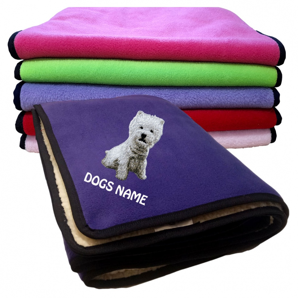 West Highland White Terrier Personalised Luxury Fleece Dog Blankets Plain Colours