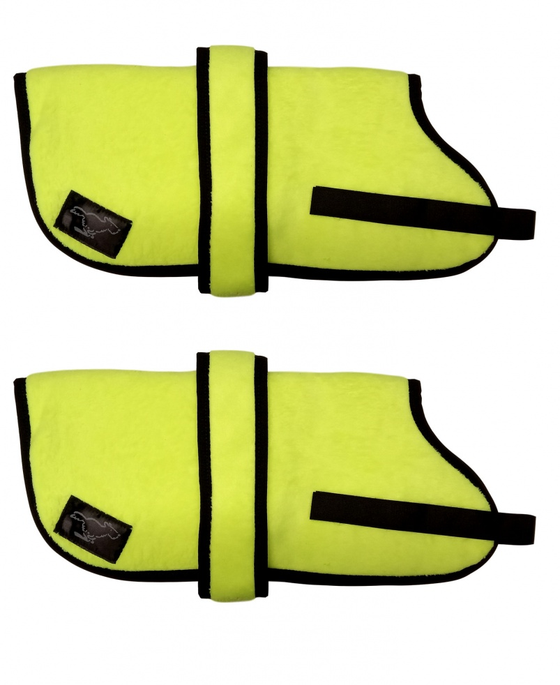 High Visibility Personalised Fleece Dog Coats - High Visibility  Yellow