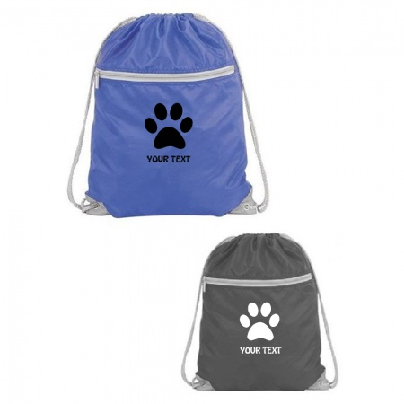 Pawprint  Zipped Pocket Drawstring Bag